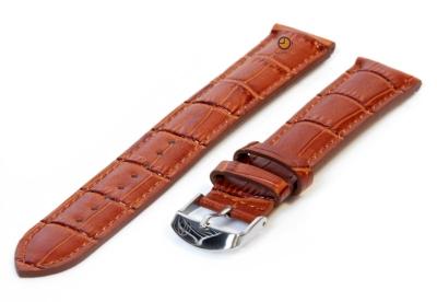 XL horlogeband 16mm leer havanabruin croco