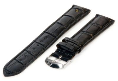XL horlogeband 16mm leer zwart croco