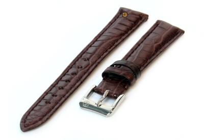 Horlogeband 14mm donkerbruin krokodillenleer mat