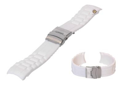 Siliconen Rolex style horlogeband 24mm wit