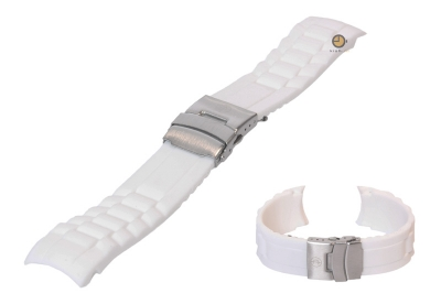 Siliconen Rolex style horlogeband 22mm wit