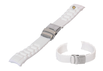 Siliconen Rolex style horlogeband 18mm wit