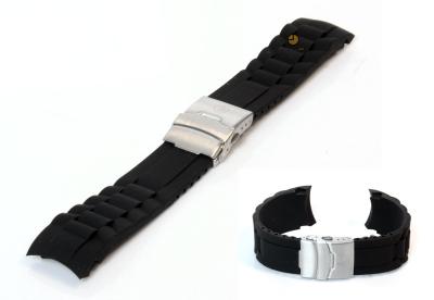 Siliconen Rolex style horlogeband 22mm zwart