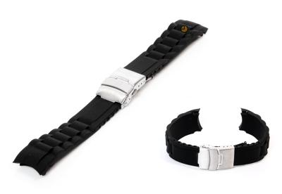 Siliconen Rolex style horlogeband 20mm zwart