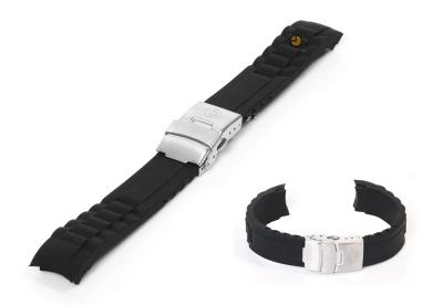 Siliconen Rolex style horlogeband 16mm zwart