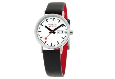 Mondaine 16mm horlogeband zwart rood glans