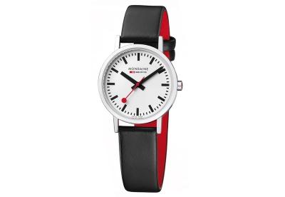 Mondaine 16mm horlogeband zwart rood mat