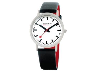 Mondaine 20mm horlogeband zwart rood glans