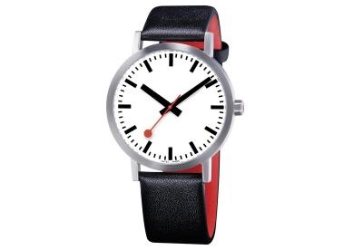 Mondaine 20mm horlogeband zwart rood mat