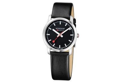 Mondaine 20mm horlogeband zwart mat