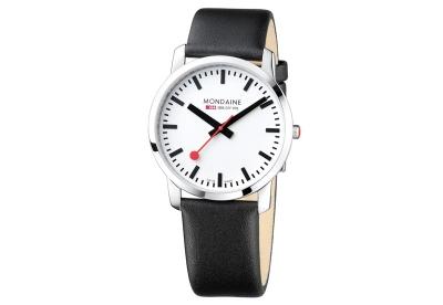 Mondaine 22mm horlogeband zwart glans