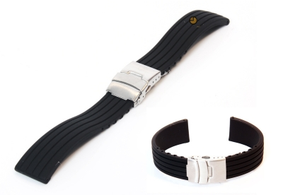 18mm siliconen horlogeband zwart