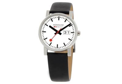 Mondaine 18mm horlogeband zwart glans