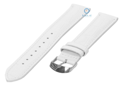 Horlogeband 16mm wit leer croco