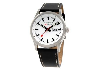 Mondaine 22mm horlogeband zwart mat