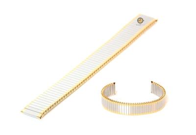 Horlogeband 12mm stalen rekband zilver/goud