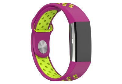 Fitbit Charge 2 sport horlogeband neon roze/geel