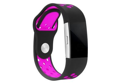 Fitbit Charge 2 sport horlogeband zwart/roze