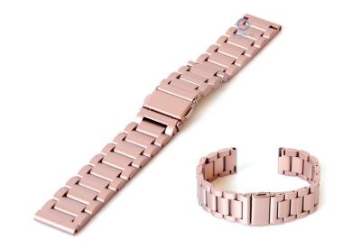 Horlogeband 18mm mat staal roze