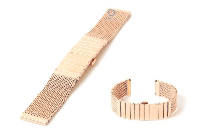 Horlogeband 18mm milanees deels gepolijst rose goud