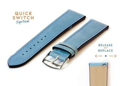 Horlogeband 20mm kalfsleer ijsblauw