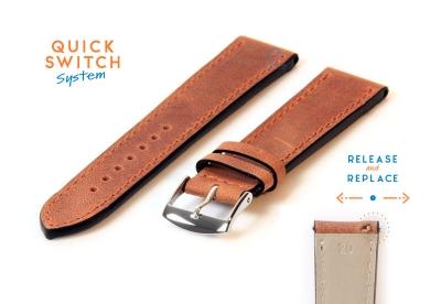 Horlogeband 20mm kalfsleer bruin