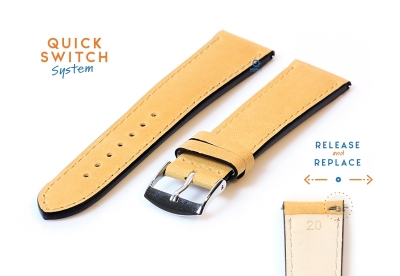 Horlogeband 20mm kalfsleer honing geel