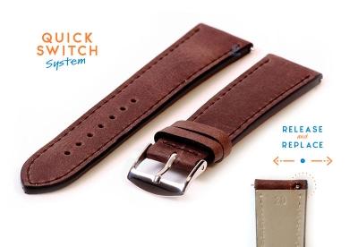 Horlogeband 20mm kalfsleer nut