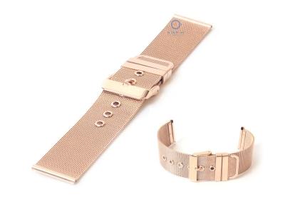 Horlogeband 22mm milanees rose goud mat/glans