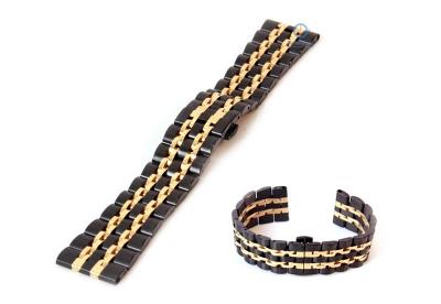 Horlogeband 22mm staal zwart goud