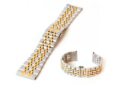 Horlogeband 22mm staal zilver/goud