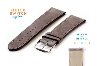 Horlogeband 22mm kalfsleer matgrijs