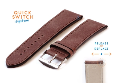 Horlogeband 22mm kalfsleer nut