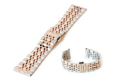 Horlogeband 22mm staal glans zilver rose goud