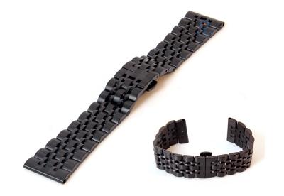 Horlogeband 22mm staal mat zwart