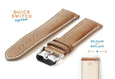 Horlogeband 22mm glanzend bruin leer