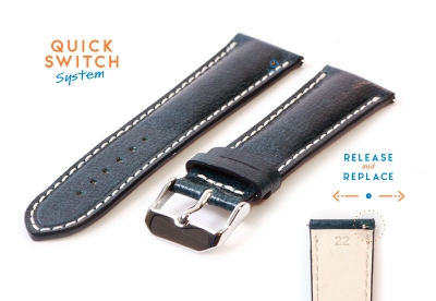 Horlogeband 22mm staalblauw leer