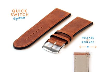 Horlogeband 22mm kalfsleer bruin