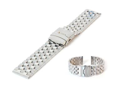 Horlogeband 24mm staal mat/glans zilver