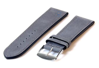 Horlogeband 24mm kalfsleer matgrijs