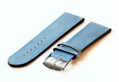 Horlogeband 24mm kalfsleer ijsblauw