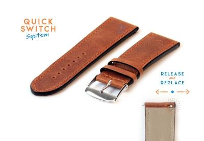 Horlogeband 24mm kalfsleer bruin
