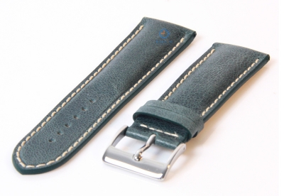 Horlogeband 24mm donkergroen leer