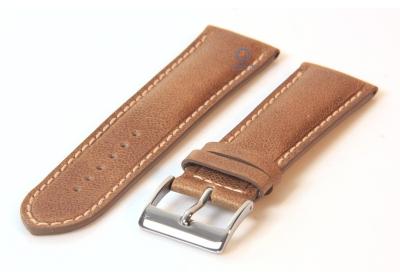 Horlogeband 24mm glanzend bruin leer