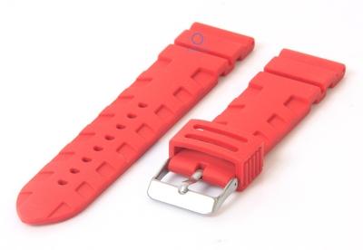 Horlogeband 24mm rubber rood