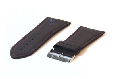 Horlogeband 32mm donkerbruin leer