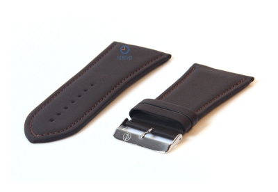 Horlogeband 34mm donkerbruin leer
