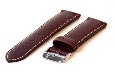 Horlogeband 26mm donkerbruin leer