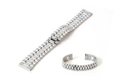 Horlogeband 18mm staal zilver - deels gepolijst