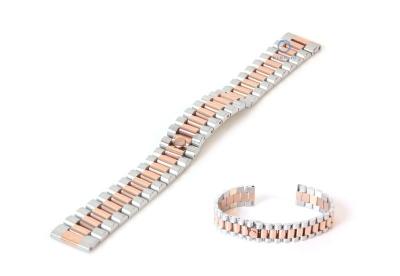 Horlogeband 18mm staal zilver rose goud - deels gepolijst